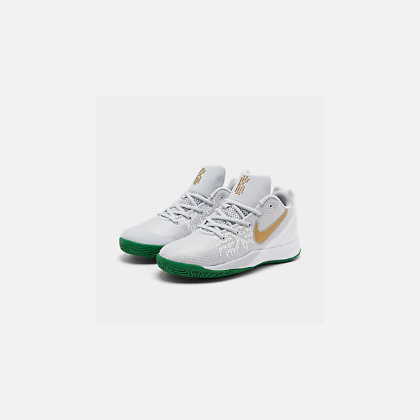 Three Quarter view of Boys' Big Kids' Nike Kyrie Flytrap II Basketball Shoes in Pure Platinum/Metallic Gold/Aloe Verde