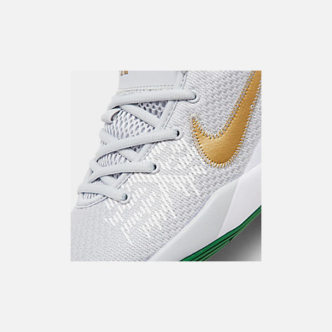 Front view of Boys' Big Kids' Nike Kyrie Flytrap II Basketball Shoes in Pure Platinum/Metallic Gold/Aloe Verde