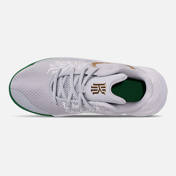 Top view of Boys' Big Kids' Nike Kyrie Flytrap II Basketball Shoes in Pure Platinum/Metallic Gold/Aloe Verde