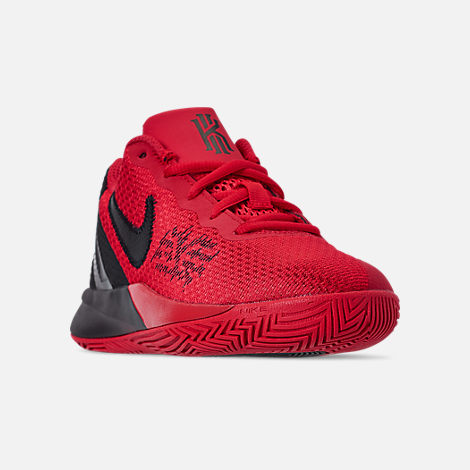 Three Quarter view of Boys' Little Kids' Nike Kyrie Flytrap II Basketball Shoes in University Red/Black