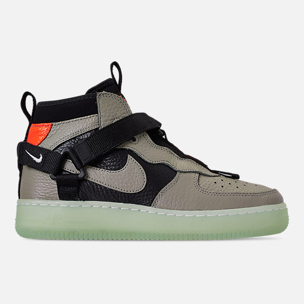 Right view of Boys' Big Kids' Nike Air Force 1 Utility Mid Casual Shoes in Spruce Fog/Black