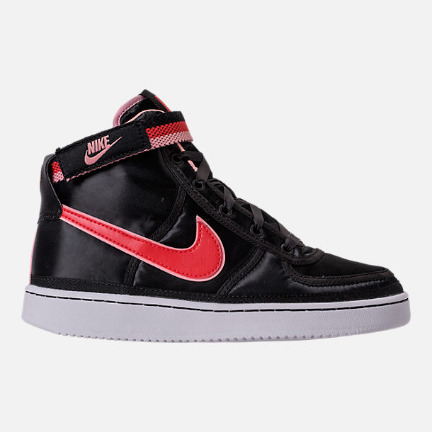 Right view of Girls' Grade School Nike Vandal Heart Casual Shoes in Black/Speed Red/Bleached Coral