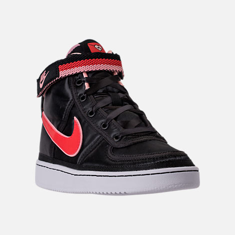 Three Quarter view of Girls' Grade School Nike Vandal Heart Casual Shoes in Black/Speed Red/Bleached Coral