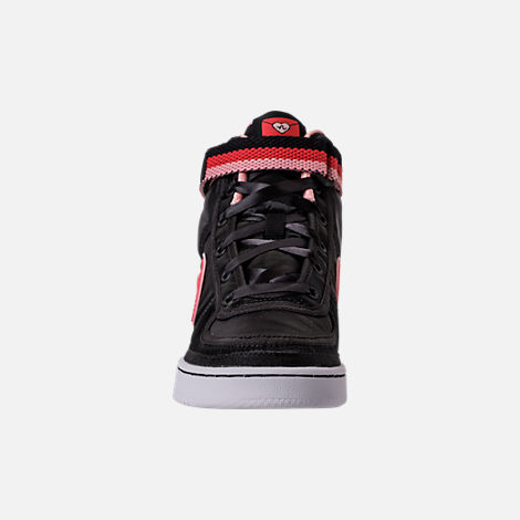 Front view of Girls' Grade School Nike Vandal Heart Casual Shoes in Black/Speed Red/Bleached Coral
