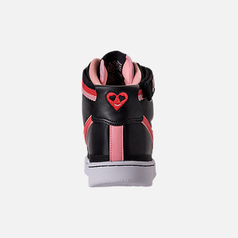 Back view of Girls' Grade School Nike Vandal Heart Casual Shoes in Black/Speed Red/Bleached Coral
