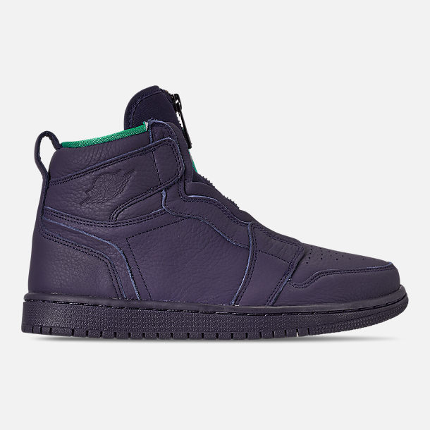 Right view of Women's Air Jordan 1 High Zip Casual Shoes in Blackened Blue/Neptune Green/White