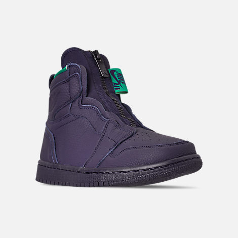 Three Quarter view of Women's Air Jordan 1 High Zip Casual Shoes in Blackened Blue/Neptune Green/White