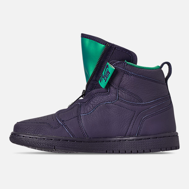 Left view of Women's Air Jordan 1 High Zip Casual Shoes in Blackened Blue/Neptune Green/White