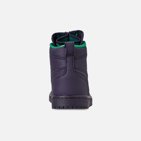 Back view of Women's Air Jordan 1 High Zip Casual Shoes in Blackened Blue/Neptune Green/White