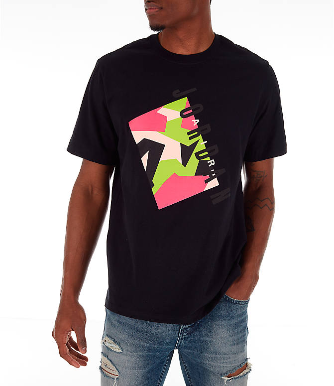 Front view of Men's Jordan Pattern T-Shirt in Black