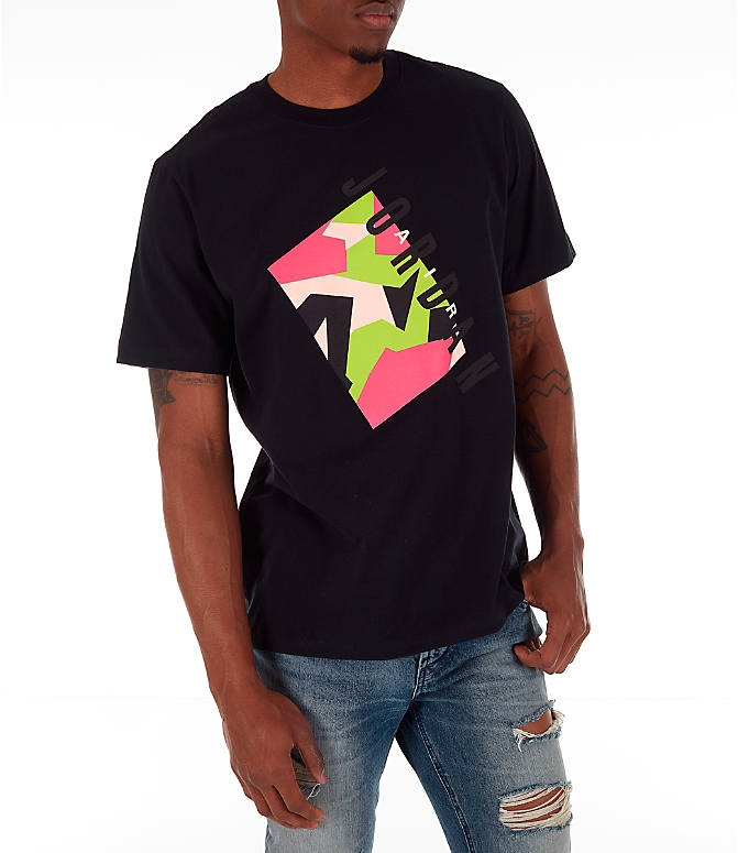 Front Three Quarter view of Men's Jordan Pattern T-Shirt in Black