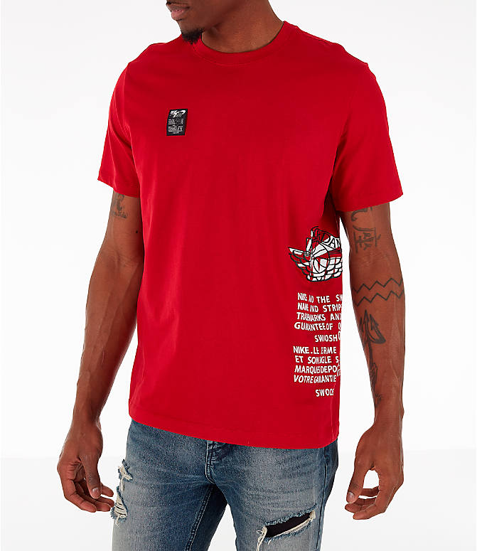 Front Three Quarter view of Men's Jordan Air Label T-Shirt in Red
