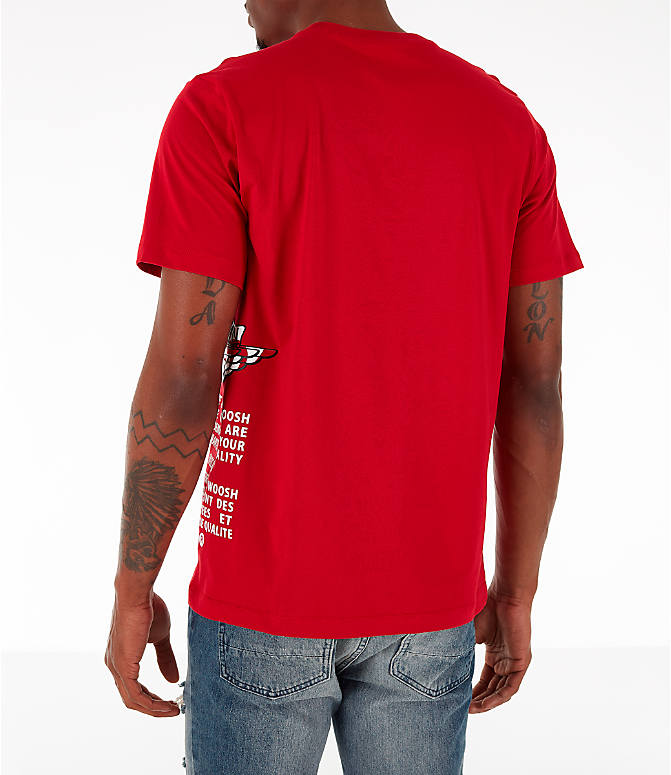Back Left view of Men's Jordan Air Label T-Shirt in Red