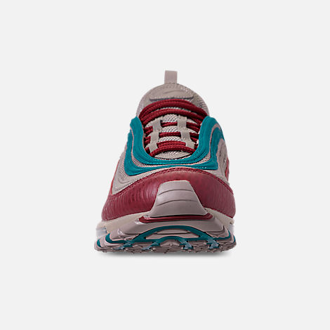 Front view of Men's Nike Air Max 97 SE Casual Shoes in Lite Taupe/Team Red