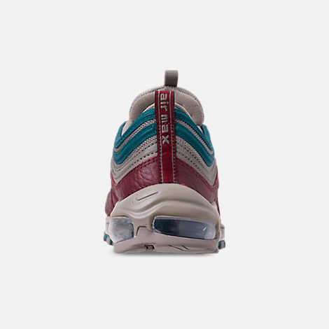 Back view of Men's Nike Air Max 97 SE Casual Shoes in Lite Taupe/Team Red