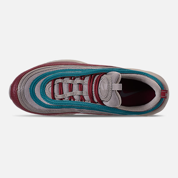 Top view of Men's Nike Air Max 97 SE Casual Shoes in Lite Taupe/Team Red