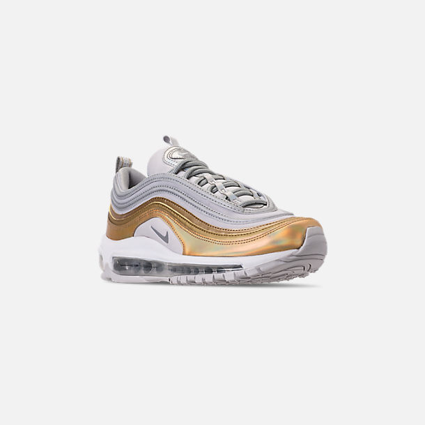Three Quarter view of Women's Nike Air Max 97 SE Casual Shoes in Vast Grey/Metallic Silver
