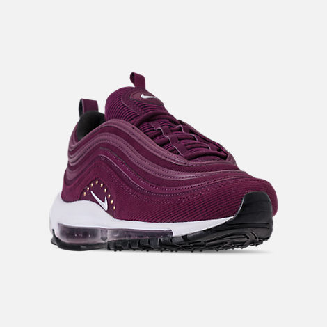 Three Quarter view of Women's Nike Air Max 97 SE Casual Shoes in Bordeaux/White/Black