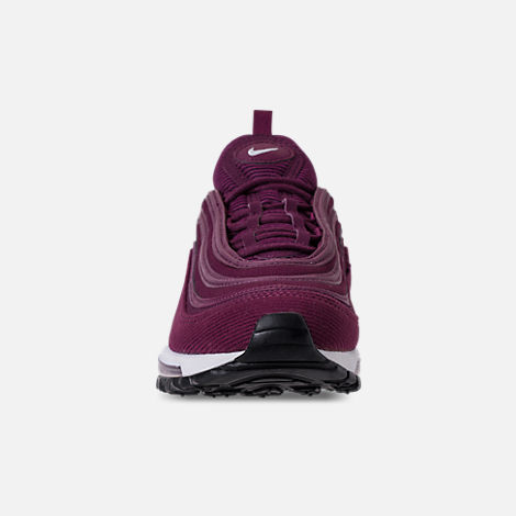 Front view of Women's Nike Air Max 97 SE Casual Shoes in Bordeaux/White/Black