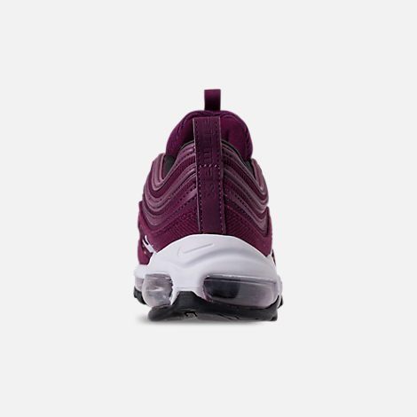 Back view of Women's Nike Air Max 97 SE Casual Shoes in Bordeaux/White/Black