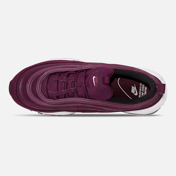 Top view of Women's Nike Air Max 97 SE Casual Shoes in Bordeaux/White/Black