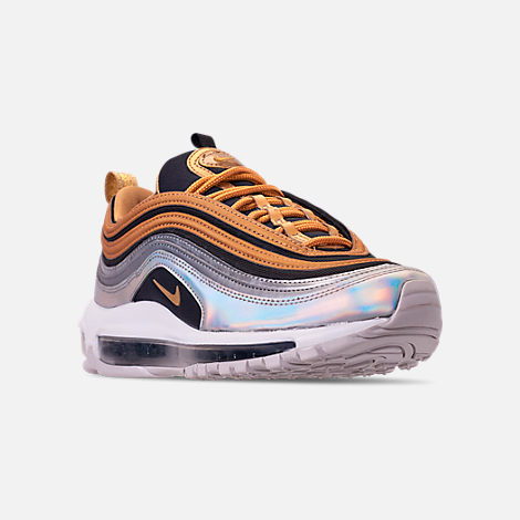 6037f03e2589 Three Quarter view of Women s Nike Air Max 97 SE Casual Shoes in Metallic  Gold