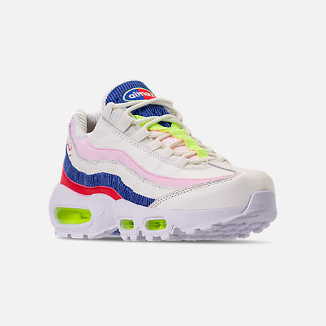 Three Quarter view of Women's Nike Air Max 95 Special Edition Casual Shoes in Sail/Arctic Pink/Racer Blue