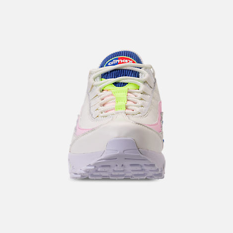 Front view of Women's Nike Air Max 95 Special Edition Casual Shoes in Sail/Arctic Pink/Racer Blue