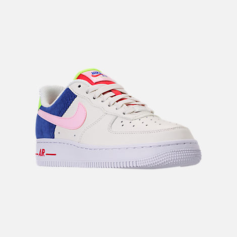 Three Quarter view of Women's Nike Air Force 1 Low Casual Shoes in Sail/Arctic Pink/Racer Blue