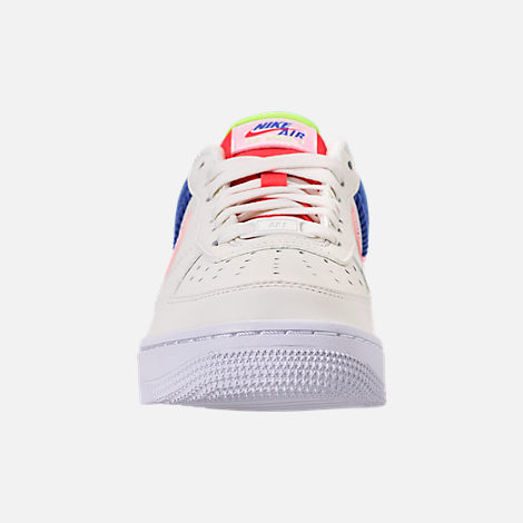 Front view of Women's Nike Air Force 1 Low Casual Shoes in Sail/Arctic Pink/Racer Blue