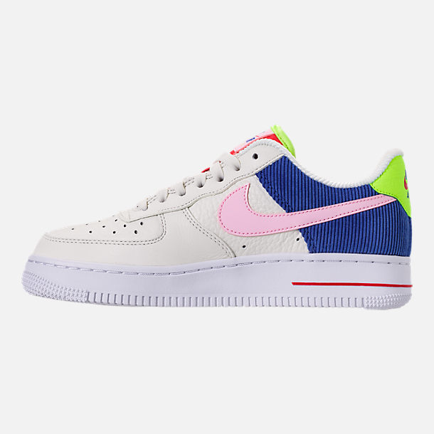 Left view of Women's Nike Air Force 1 Low Casual Shoes in Sail/Arctic Pink/Racer Blue