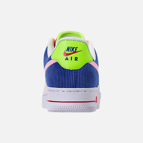 Back view of Women's Nike Air Force 1 Low Casual Shoes in Sail/Arctic Pink/Racer Blue