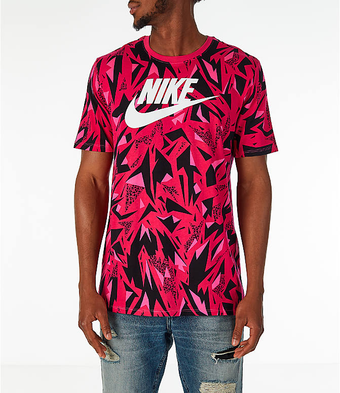 Front view of Men's Nike Sportswear 90's All-Over Print T-Shirt in Rush Pink