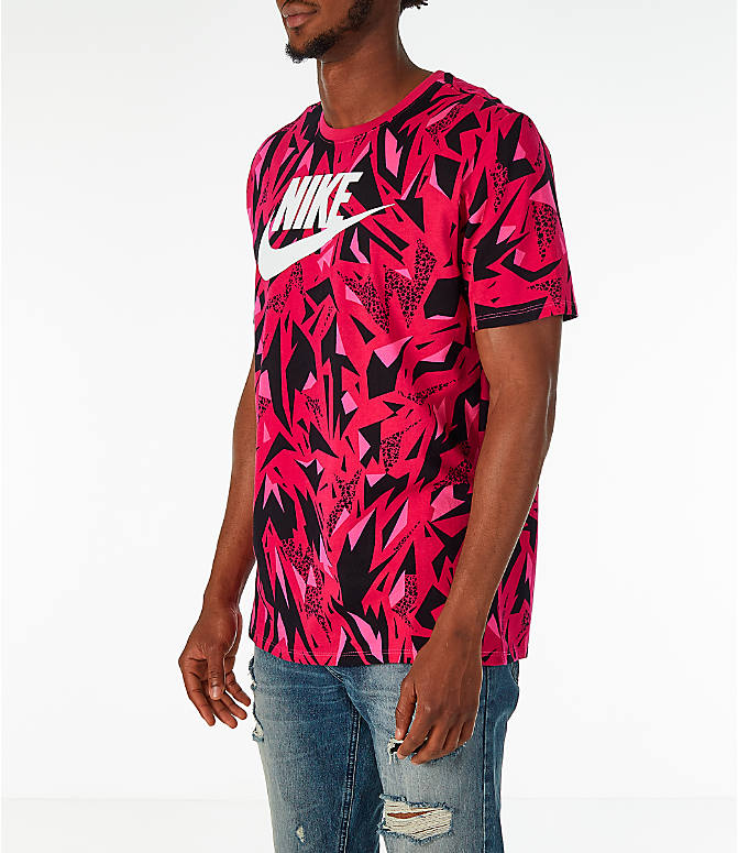 Front Three Quarter view of Men's Nike Sportswear 90's All-Over Print T-Shirt in Rush Pink