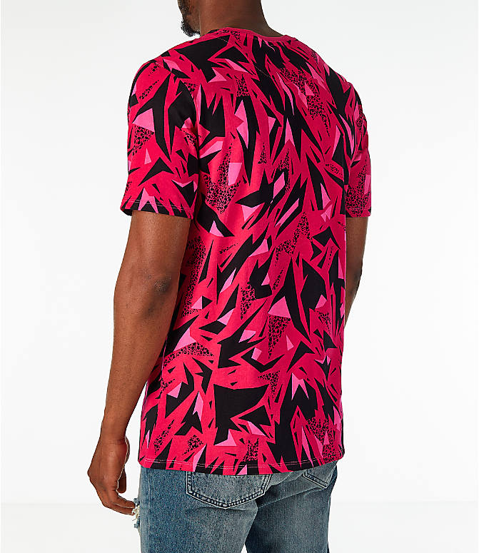 Back Left view of Men's Nike Sportswear 90's All-Over Print T-Shirt in Rush Pink
