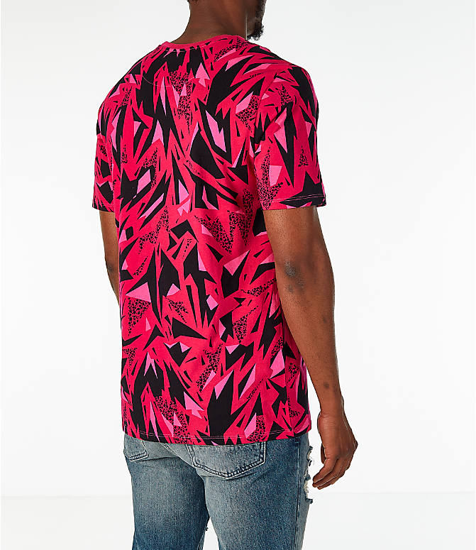 Back Right view of Men's Nike Sportswear 90's All-Over Print T-Shirt in Rush Pink