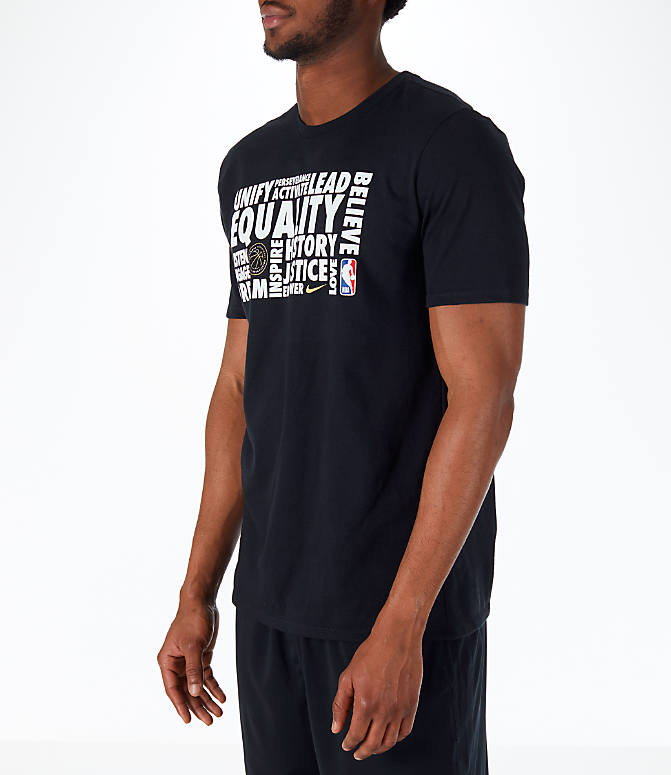 Front Three Quarter view of Men's Nike NBA Black History Month T-Shirt in Black