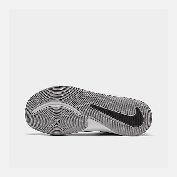 Bottom view of Boys' Little Kids' Nike Team Hustle D 9 Basketball Shoes in Black/Metallic Silver/Wolf Grey/White