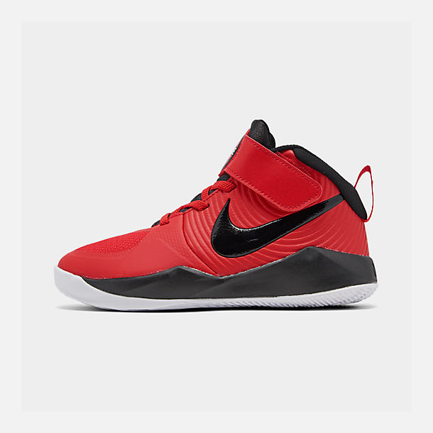 Right view of Boys' Little Kids' Nike Team Hustle D 9 Basketball Shoes in University Red/Black/White