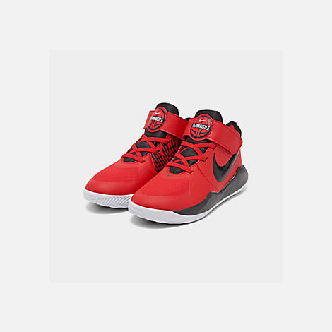 Three Quarter view of Boys' Little Kids' Nike Team Hustle D 9 Basketball Shoes in University Red/Black/White