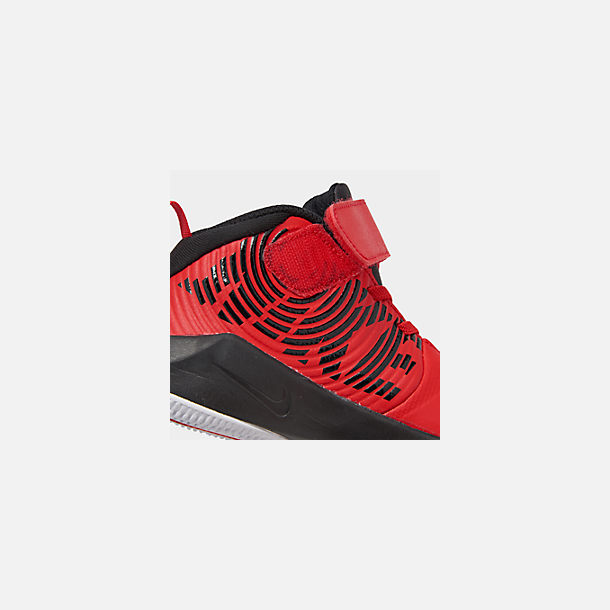 Front view of Boys' Little Kids' Nike Team Hustle D 9 Basketball Shoes in University Red/Black/White
