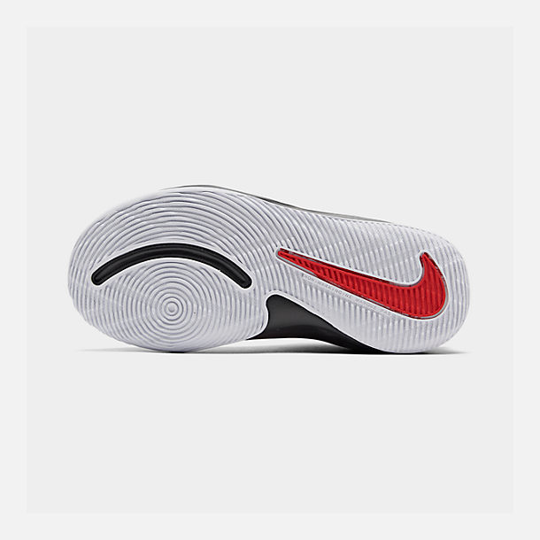 Bottom view of Boys' Little Kids' Nike Team Hustle D 9 Basketball Shoes in University Red/Black/White