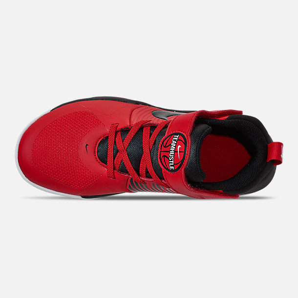 Top view of Boys' Little Kids' Nike Team Hustle D 9 Basketball Shoes in University Red/Black/White