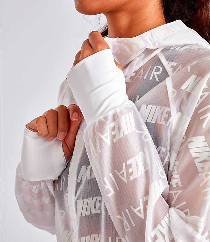 Detail 1 view of Women's Nike Air Allover Print Hooded Running Jacket in White/Allover Print