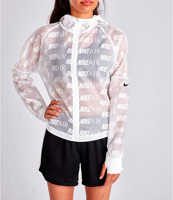 Front view of Women's Nike Air Allover Print Hooded Running Jacket in White/Allover Print