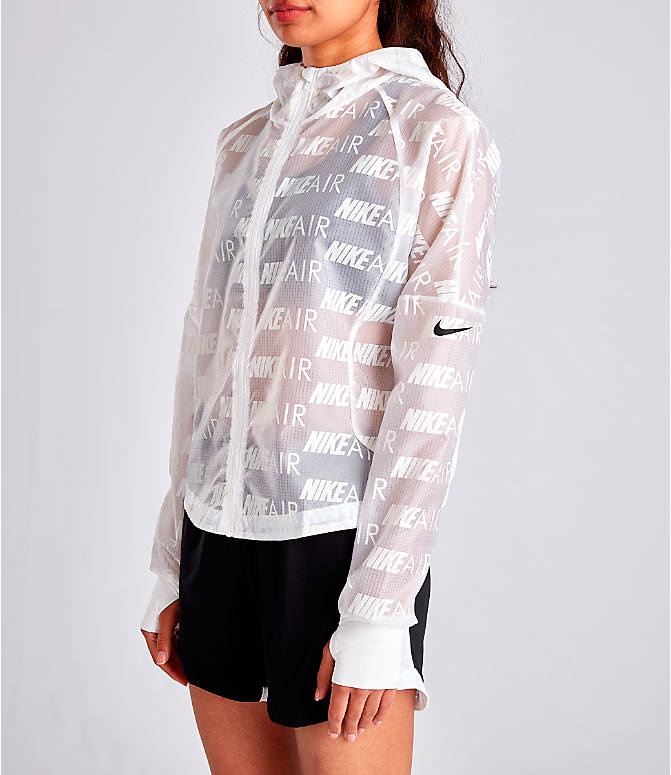 Front Three Quarter view of Women's Nike Air Allover Print Hooded Running Jacket in White/Allover Print