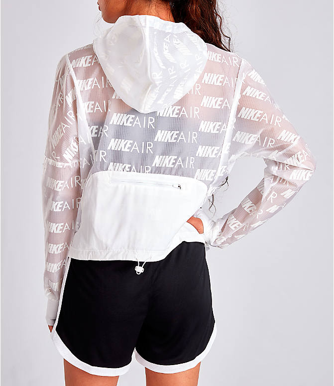 Back Left view of Women's Nike Air Allover Print Hooded Running Jacket in White/Allover Print