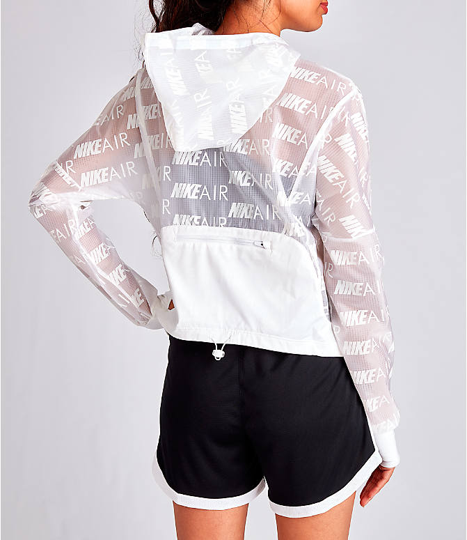 Back Right view of Women's Nike Air Allover Print Hooded Running Jacket in White/Allover Print