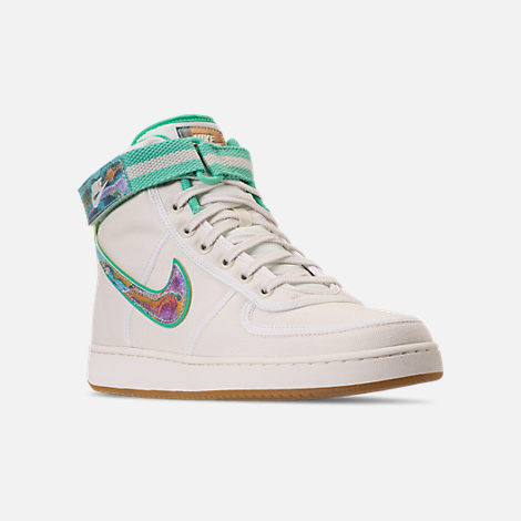 Three Quarter view of Men's Nike Vandal High Supreme TD Casual Shoes in Sail/Multicolor/Gum Light Brown