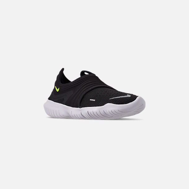 ffb92aa1e85e Three Quarter view of Women s Nike Free RN Flyknit 3.0 Running Shoes in  Black Volt